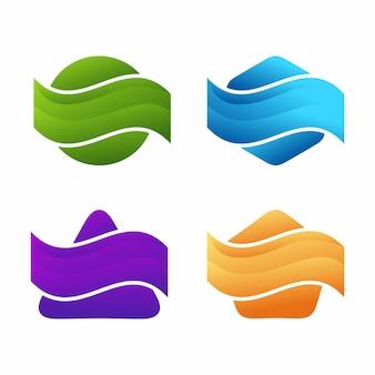 Logotype géométrique coloré brillant dégradé