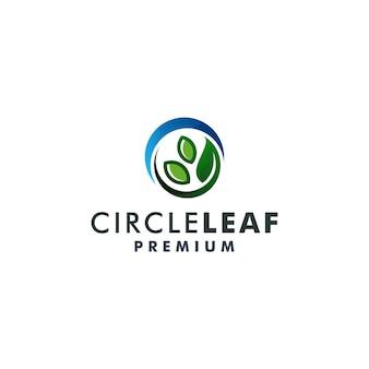 Logotype de l'icône de la nature du modèle de logo de feuille de cercle