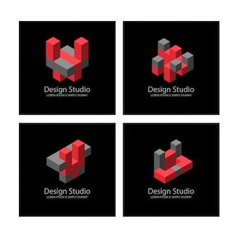 Logotype isométrique abstrait