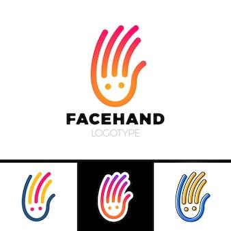 Logotype de main de ligne de sourire ou conception de logo de centre de garde d'enfants