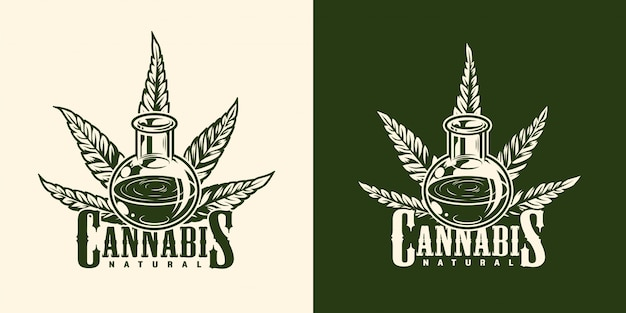 Logotype de marijuana monochrome vintage