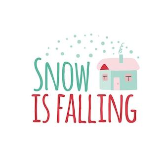 Logotype de noël ou insigne mignon dessin animé hiver maison la neige tombe