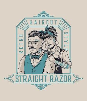 Logotype vintage de salon de coiffure avec un client élégant tatoué à la moustache et une jolie femme barbier aux yeux fermés tenant une illustration vectorielle isolée de rasoir droit