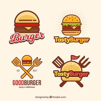 Logotypes de hamburger en style linéaire