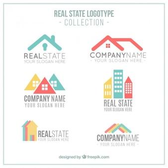 Logotypes immobiliers colorés modernes
