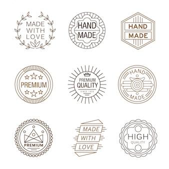 Logotypes d'insignes de conception rétro, fabriqués à la main
