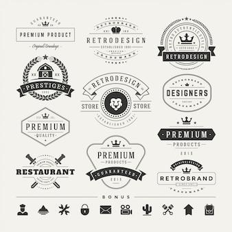 Logotypes vintage rétro définir des éléments de conception de vecteur