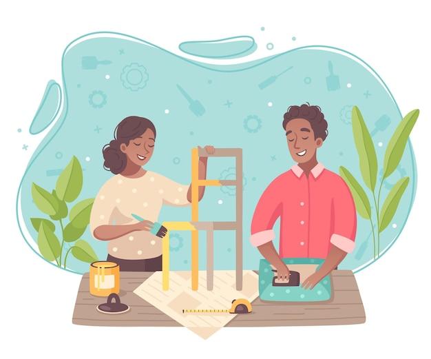 Loisirs créatifs activités de passe-temps composition de dessin animé plat avec jeune couple faisant leurs propres meubles