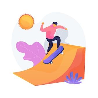 Loisirs extrêmes, animations sportives. activités de plein air, passe-temps de skate, repos actif. formation de skateboarder adolescent dans un parc de skateboard urbain.
