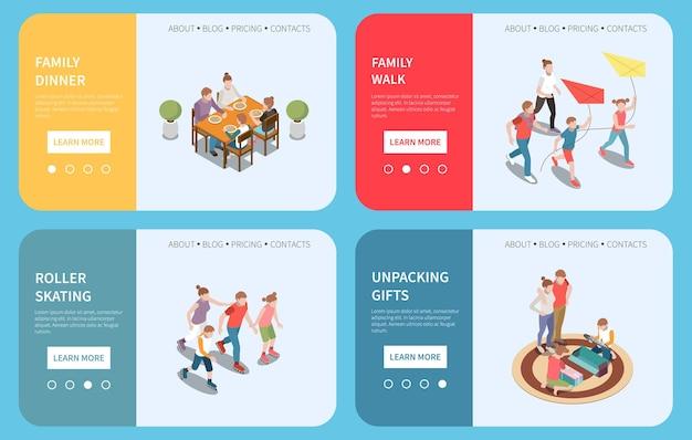 Loisirs familiaux jouant bannière de page de destination isométrique