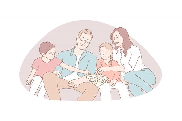 Loisirs en famille, soirée cinéma, concept de valeurs traditionnelles