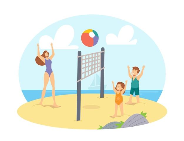 Loisirs en famille, vacances. mère et enfants jouant au beach-volley au bord de la mer. compétition estivale de personnages heureux, jeux et loisirs à ocean shore. illustration vectorielle de gens de dessin animé