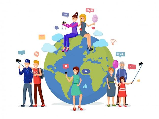 Loisirs de médias sociaux dans le monde entier