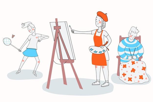 Loisirs de personnes dessinés à la main