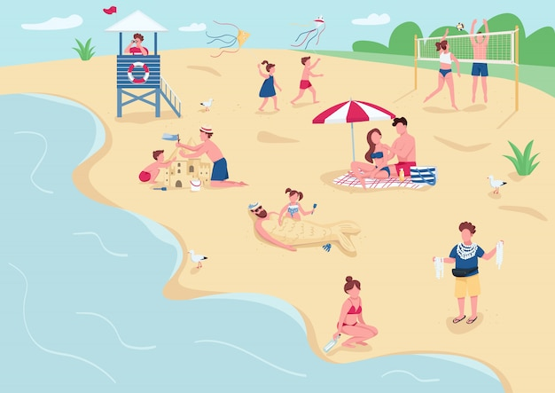 Loisirs sur la plage de sable plat couleur illustration. les gens se faire bronzer, se détendre sur des couvertures. enfants jouant, construction de personnages de dessins animés de château de sable avec paysage marin sur fond