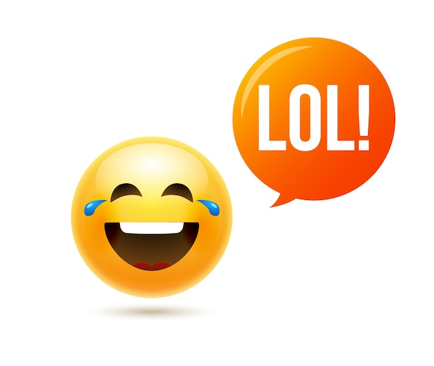 Lol emoji icône sourire visage. émoticône blague heureux dessin animé drôle lol emoji illustration.