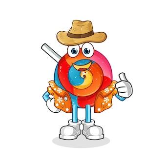 Lollipop aller en illustration de personnage de vacances