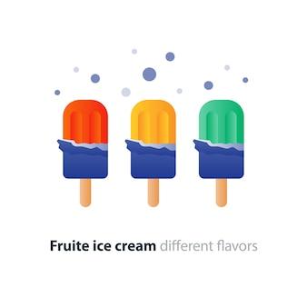 Lolly popsicle, fraise rouge, caramel jaune et crème glacée de couleur verte en emballage sur bâton, dessert délicieux, choix différent, icône