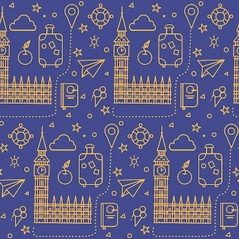 London seamless pattern avec big ben, bâtiment du parlement et éléments de voyage