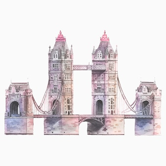 Le london tower bridge peint à l'aquarelle