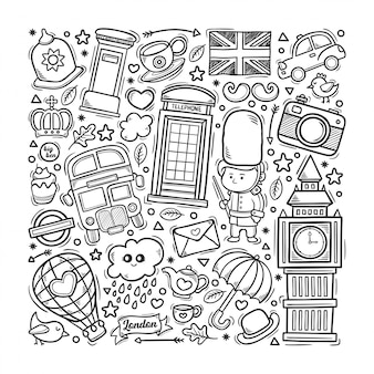Londres angleterre couleur doodle dessiné à la main