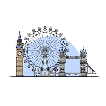 Londres, bâtiment, paysage, dessin animé, vecteur, icône, illustration. concept d'icône de point de repère de construction isolé vecteur premium. style de dessin animé plat