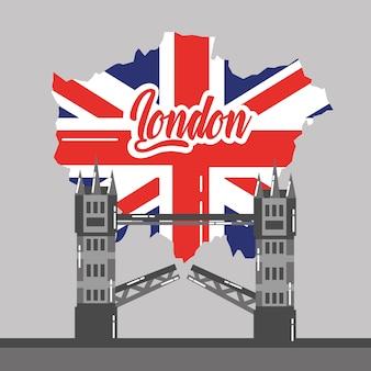 Londres pont bâtiment carte uk point de repère