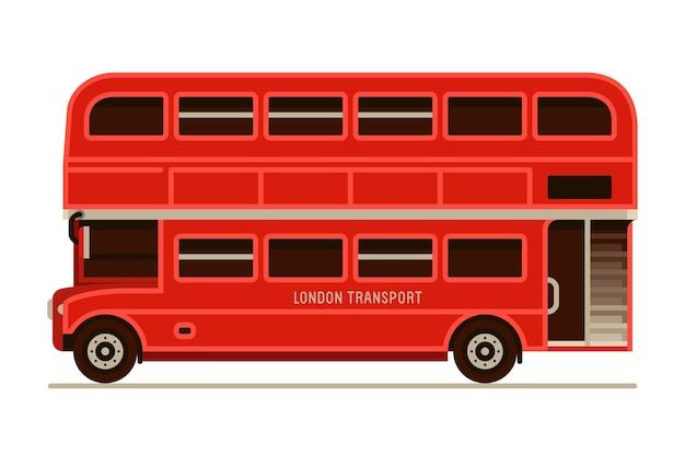 Londres rouge double decker city bus transport gauche vue de côté dans un style plat
