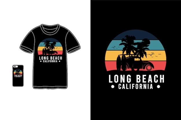 Long beach california, maquette de silhouette de marchandise de t-shirt