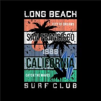 Longue plage, club de surf l'été