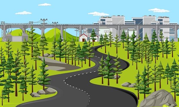 Longue route dans la scène de paysage nature