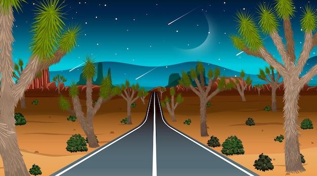 Longue route à travers la scène du paysage désertique la nuit