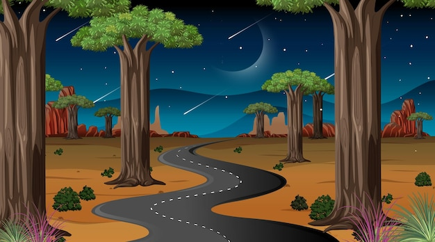 Longue route à travers la scène de paysage désertique la nuit