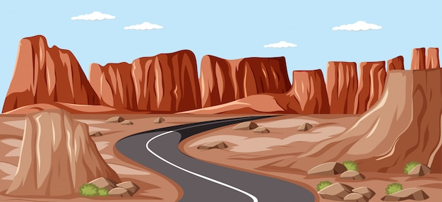Longue route vierge au milieu des falaises