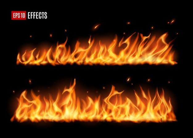 Longues langues de feu brûlant