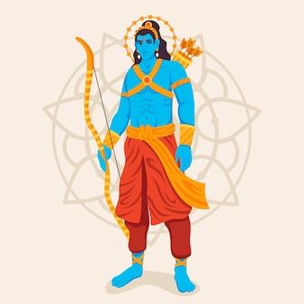 Lord rama debout avec un arc à la main