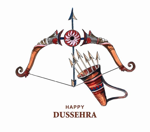 Lord rama avec une flèche tuant ravana dans un joyeux design de dussehra