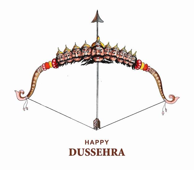 Lord rama avec une flèche tuant ravana dans un joyeux fond de dussehra