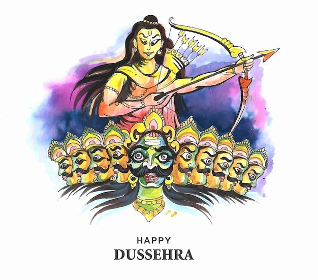 Lord rama avec une flèche tuant ravana sur fond de carte du festival navratri