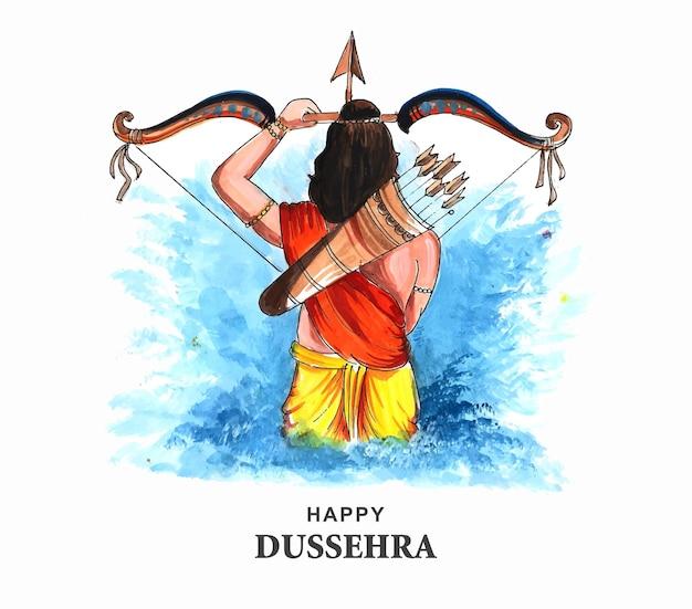 Lord rama happy dussehra festival souhaite carte fond aquarelle