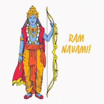 Lord rama tenant un arc doré dessiné à la main