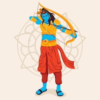 Lord rama utilisant l'arc et la flèche d'or