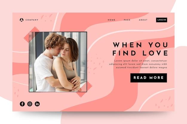 Lorsque vous trouvez la page de destination d'amour