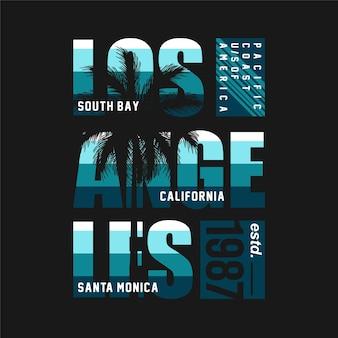 Los angeles baie sud californie graphique typographie vecteur plage thème illustration