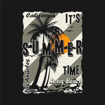 Los Angeles, Californie, C'est L'heure D'été, Avec T-shirt Palmier Vecteur Premium