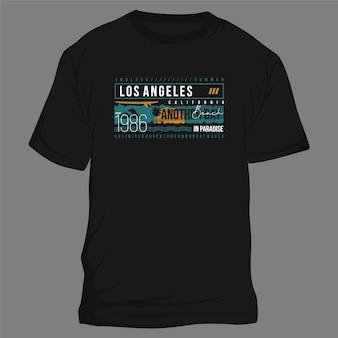 Los angeles californie tropical coucher de soleil longue plage vecteur t shirt typographie conception graphique