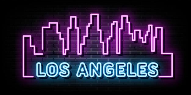 Los angeles city line neon signs vector