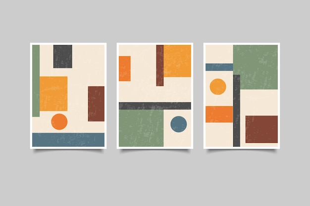 Lot de 3 art mural géométrique vintage f