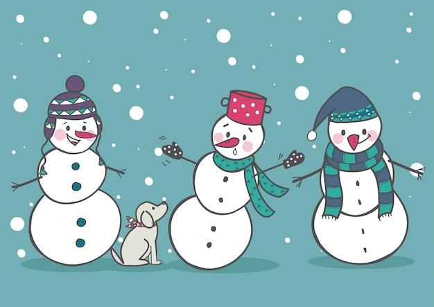 Lot de 3 bonhommes de neige