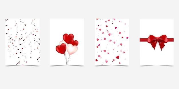 Lot de 4 cartes-cadeaux saint-valentin avec cœur et nœuds cadeaux.